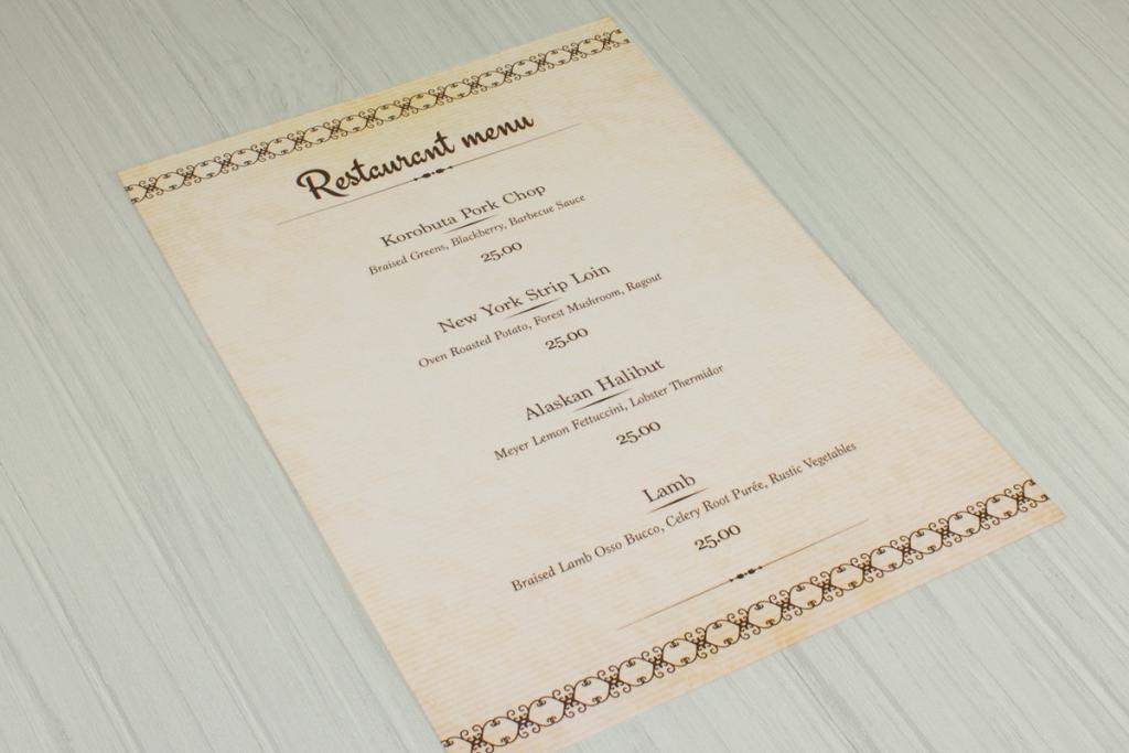 Loose sheet restaurant food menu