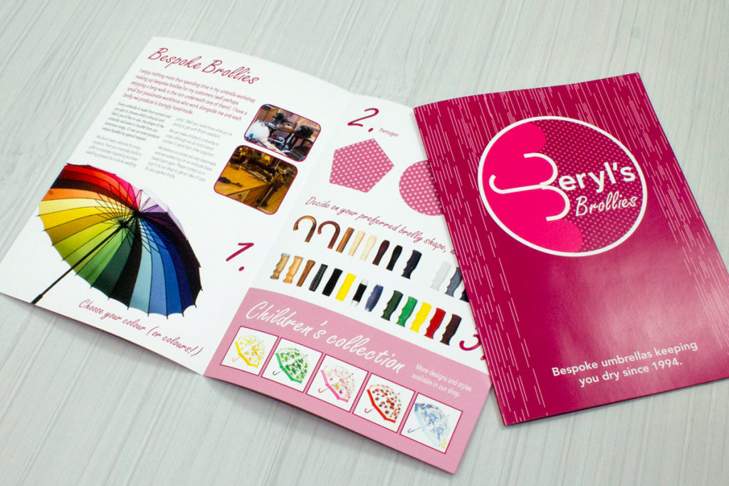 Saddle stitch booklet open
