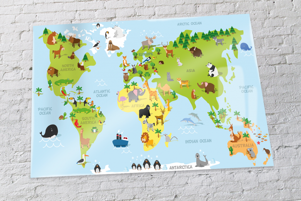 World map poster with animals