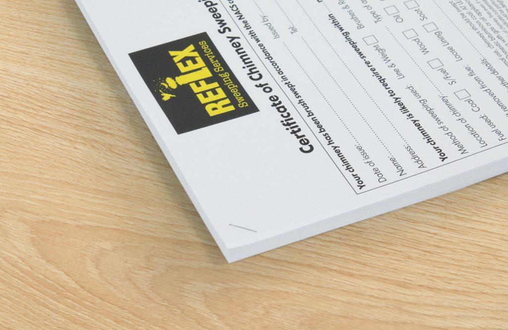 Corner stapled document